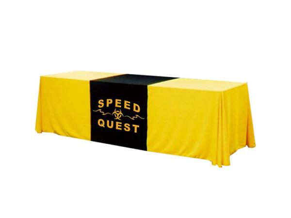 "8ft Twill Table Throw with 30"" wide Twill Runner - One Color Perma Logo on Twill Runner - 24"" wider Twill Runner available"