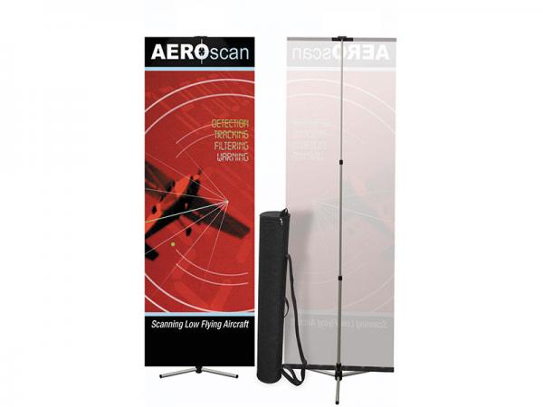 Summit Telescopic Banner Stand - Silver - Shown Front and Back with Black Carry Case